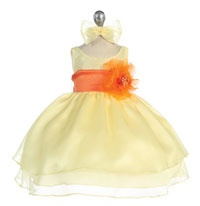 Flower Girl Dresses - Girls Dress Style 574 - YELLOW Dress with Choice of 70 Sash and Flower Options