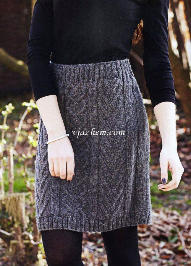 Вязаная юбка спицами