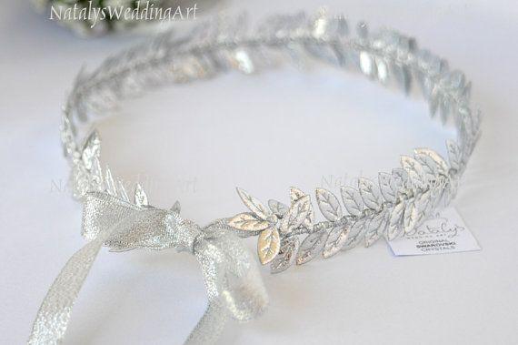 Silver Leaf Themed Wedding Crown, $74.50 at the Greek WEdding Shop ~ http://www.greekweddingshop.com/