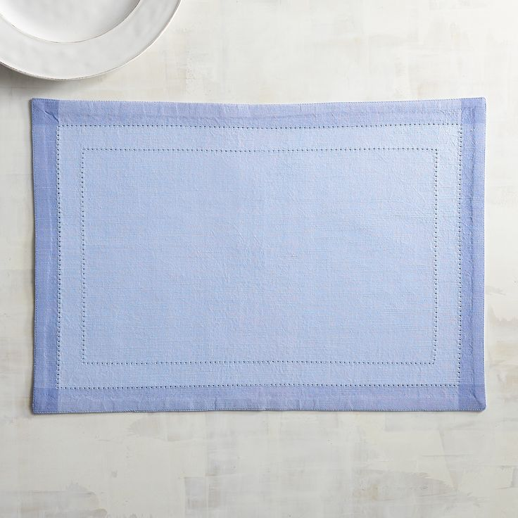 Hemstitch Sky Blue Placemat