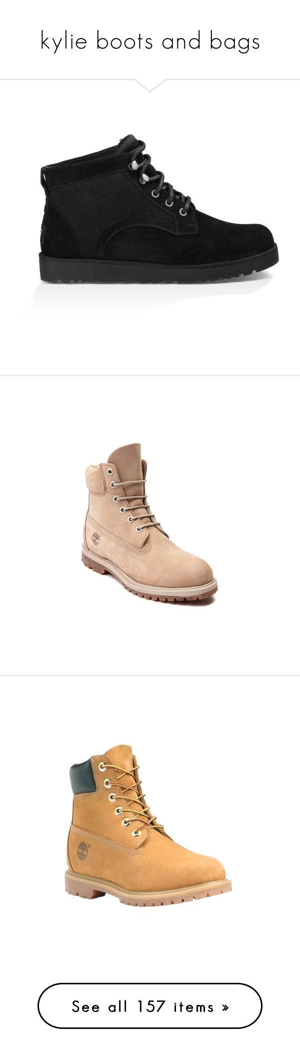 """""""kylie boots and bags"""" by marilia13 ❤ liked on Polyvore featuring shoes, boots, slim shoes, traction shoes, ugg australia, slim boots, light weight boots, timberland footwear, timberland boots and timberland shoes"""