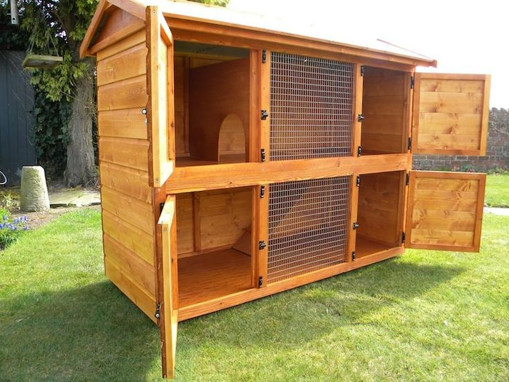 Double rabbit hutch plans woodworking projects plans for Wood hutch plans