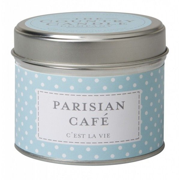 'Parisian Cafe' candle in tin by The Country Candle Company