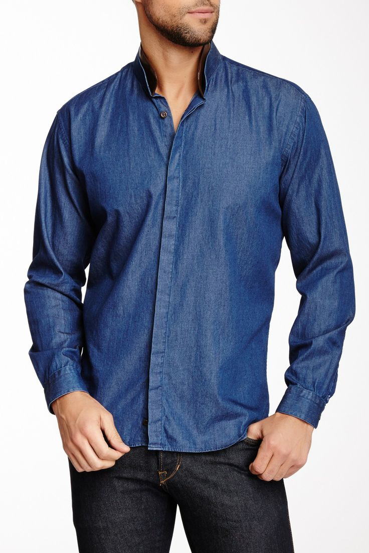 Dery Chambray Shirt with Faux Leather Trim on HauteLook