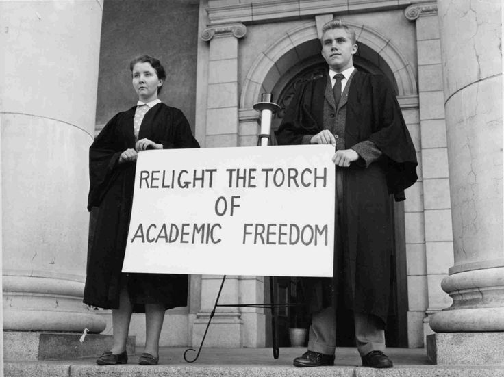 Students protest against the violation of academic freedom in the 1950s.