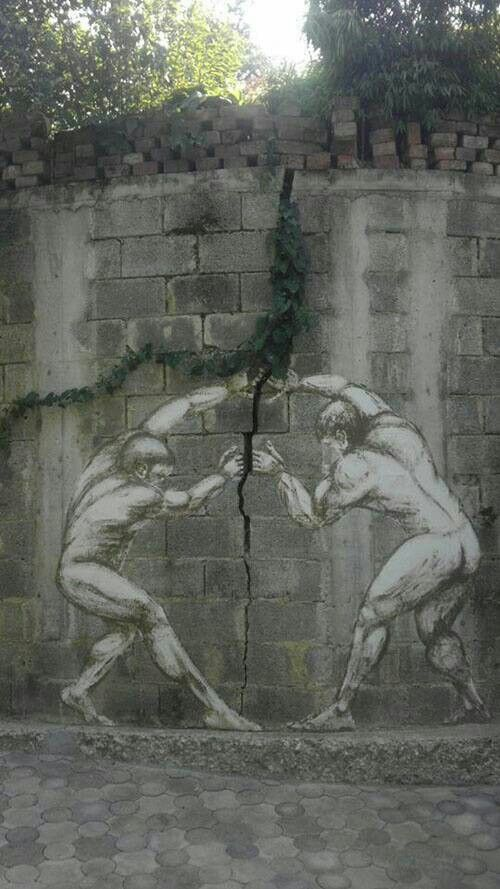 Now here we have a wall crack with a fanciful idea added to it. Both the wall crack and the growing vine are tree branch effects