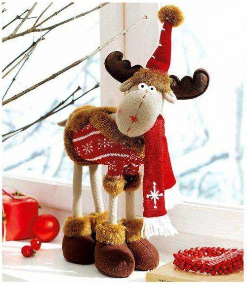 декор к новому году, сувенир своими руками, олень, мягкая игрушка, выкройка, описание кроя и шитья