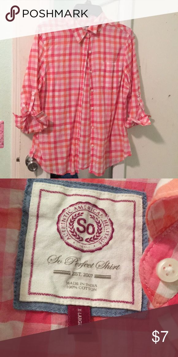 cute Pink/ coral blouse pink/coral blouse with a square pattern used once for a scarecrow costume No stains  Pet free home SO Tops Blouses