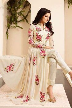 Drashti Dhami Fancy Designer Cream Color Georgette Floor Length Anarkali Suit