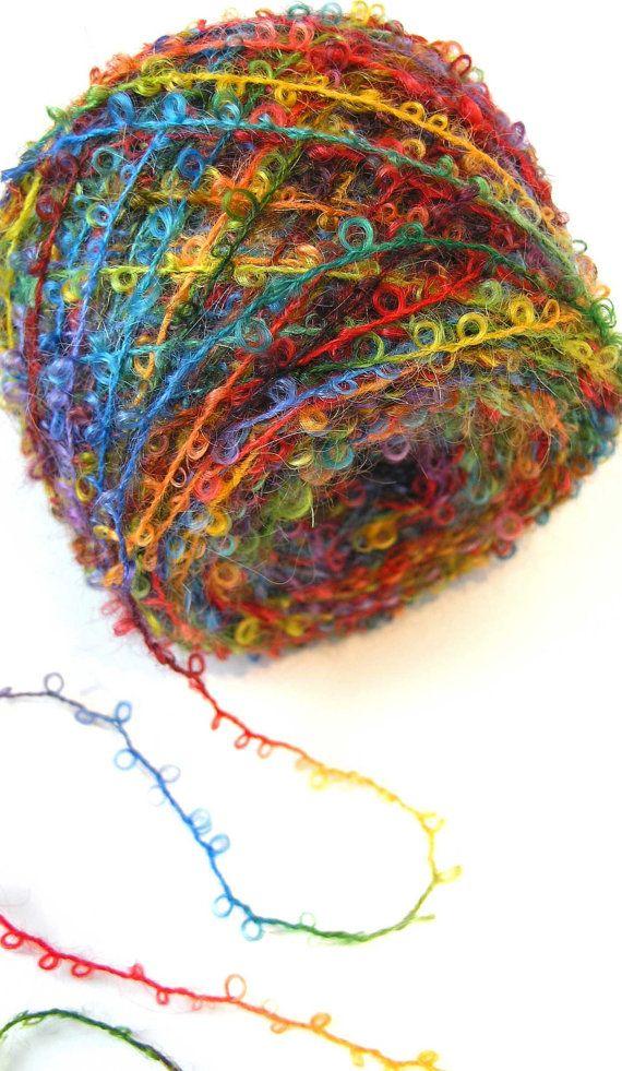 #Boucle #Yarn Hand Dyed #Wool Yarn - Fire Star