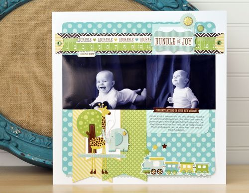 Bundle of Joy Layout. Bundle of Joy Boy Collection by Echo Park Paper Co. #echoparkpaper