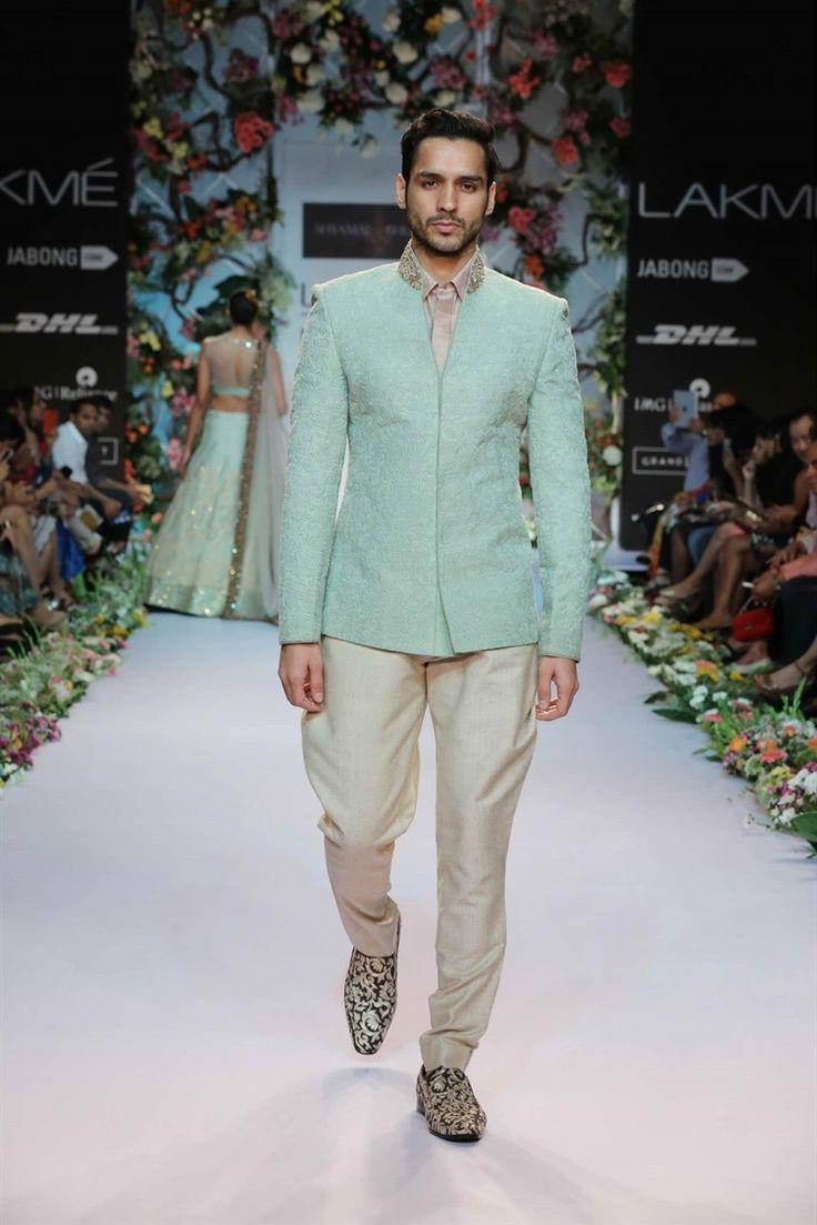 Mint green men's jacket - quite dashing | Shyamal and Bhumika at Lakme Fashion Week, India 2014