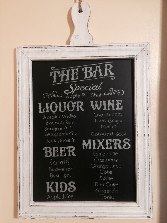 20 by 16 chalk board bar menu sign, personalized any way you would like. I will send you a proof of the design first. I spray the sign after the chalk