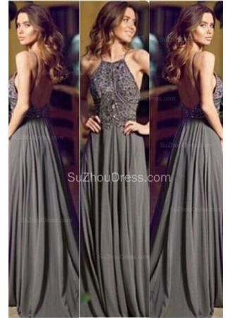 USD$139.00 - 2015 Grey Evening Dresses Straps Crystals Beading Chiffon Floor Length Backless Prom Dresses - www.suzhoudress.com