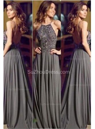 USD$139.00 - 2015 Grey Evening Dresses Straps Crystals Beading Chiffon Floor Length Backless Prom Dresses - www.suzhoudress.com