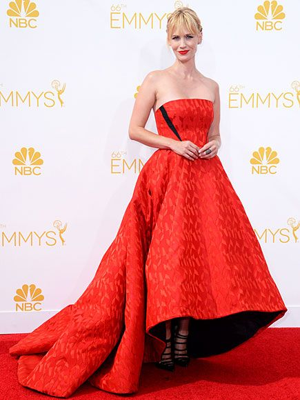 We counted at least 13 red dresses at the Emmys red carpet, but none quite so dramatic as January Jones's Prabal Gurung number.