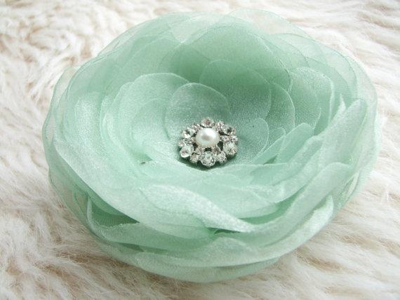 Mint green flower hair clip brooch Hair flower by AijasFlowers, $17.00