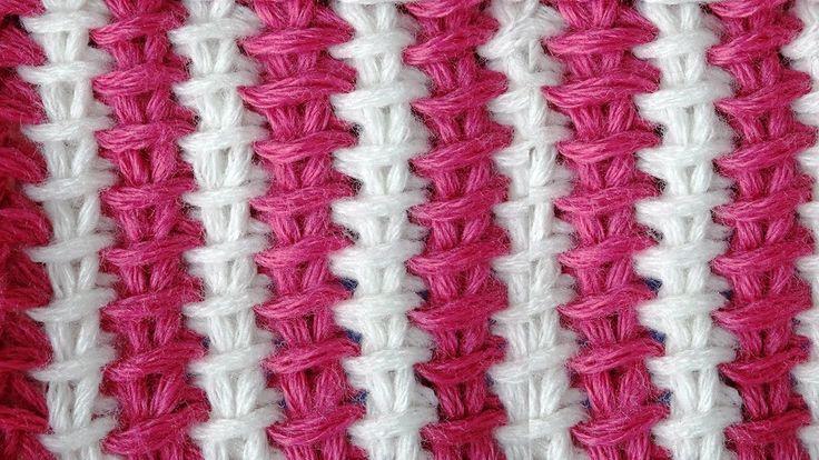 Tunisian crochet pattern Двухцветный тунисский узор 1 из КИТАЯ Все уроки – ЖМИ! http://www.knittingforbeginners.ru/ Или вступай в группу во ВКонтакте http://...
