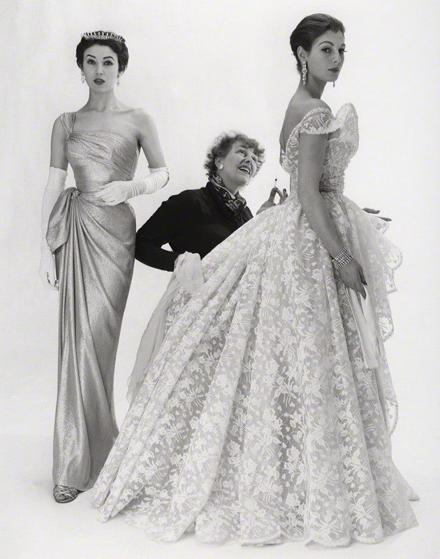 Elspeth Champcommunal with Fiona (née Campbell-Walter), Baroness Thyssen and one other fashion model by Norman Parkinson - 1953