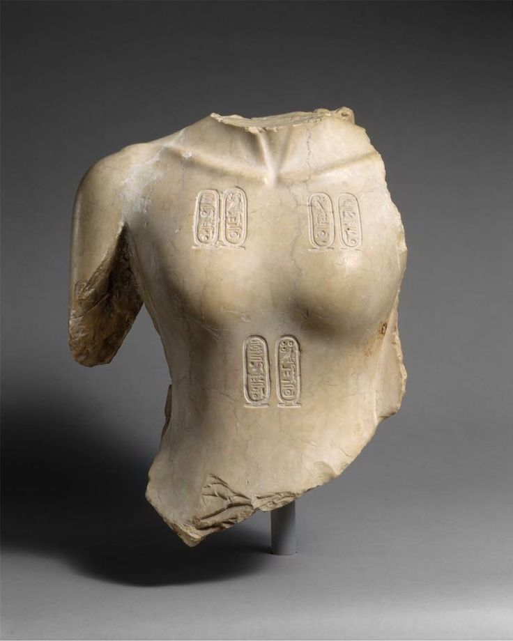 This torso from a statue of Akhenaten was found in the Sanctuary of the Great Aten Temple or in the dump south of the Sanctuary area of the temple. The heavy breasts and sagging belly of the king are typical of his representation, a feminized body that may suggest his fertile receptiveness to life and divine inspiration from the Aten.   Torso of Akhenaten | New Kingdom, Amarna Period, Dynasty 18, reign of Akhenaten | ca. 1353–1336 B.C.