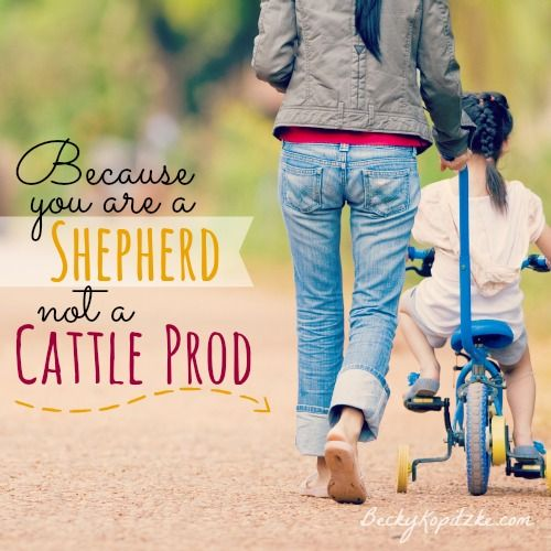 "Do you bark at your kids much? All it takes to kick that habit is this simple change in perspective. ""Because You Are a Shepherd, Not a Cattle Prod"" from Time Out with Becky Kopitzke - Christian devotions, encouragement and advice for moms and wives."