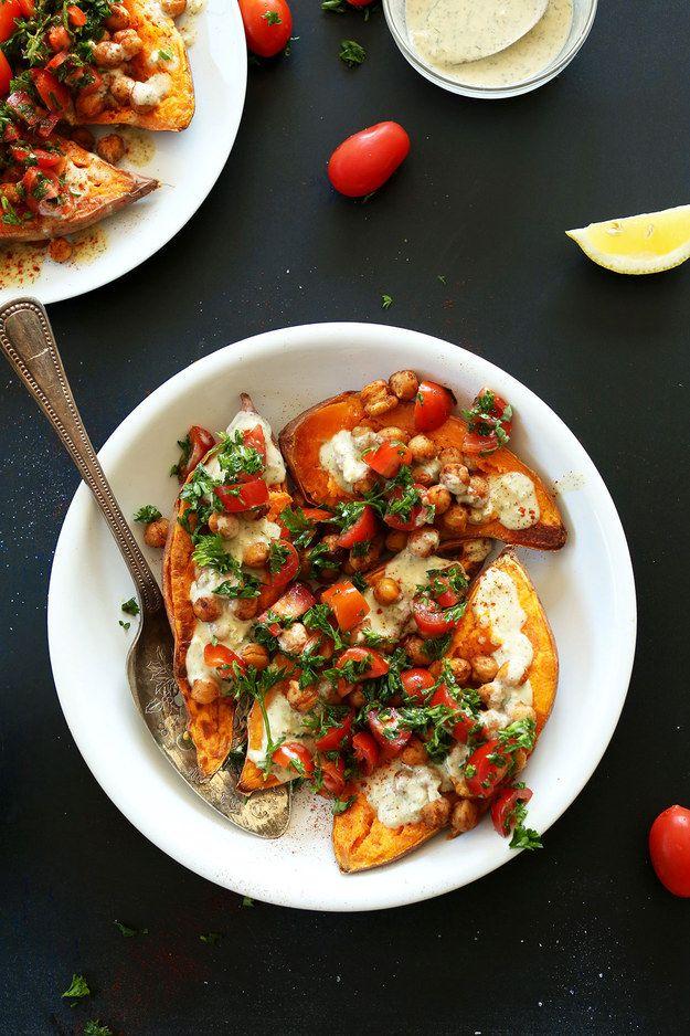 Mediterranean Baked Sweet Potatoes |