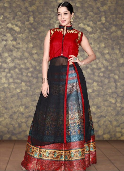 New Arrival Red & Black Banglori Georgette Indo Western