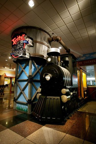 Fritz's Railroad Restaurant in Crown Center.. The inside is decorated so cool!  It is all railroad stuff.