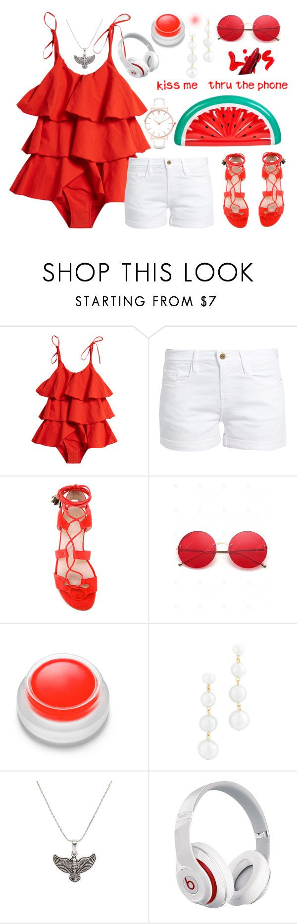 """""""《Kiss me thru the phone 》"""" by apcquintela ❤ liked on Polyvore featuring Lisa Marie Fernandez, Frame, Stuart Weitzman, rms beauty, Rebecca Minkoff, Alex and Ani, Beats by Dr. Dre and Abbott Lyon"""