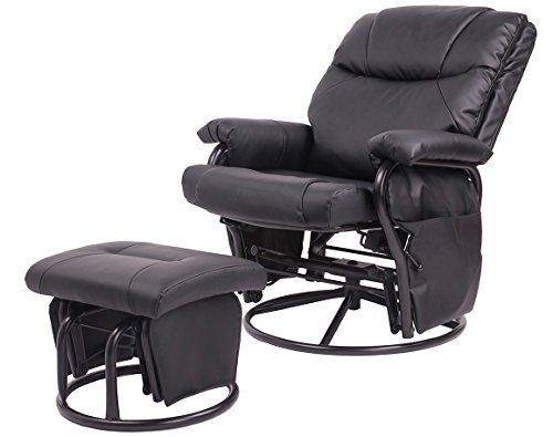 merax glider recliner chair with ottoman black pu leather swivel glider recliner http