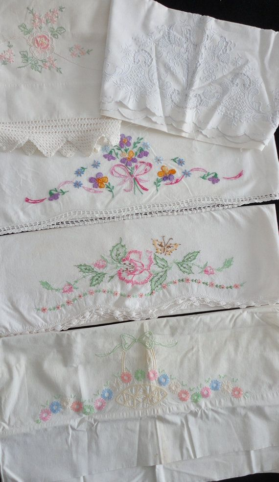 Vintage Pillowcase Linens Tubing Cut Work Hand Embroidery Crochet Scalloped Edge Cotton Pairs Singles Tubing
