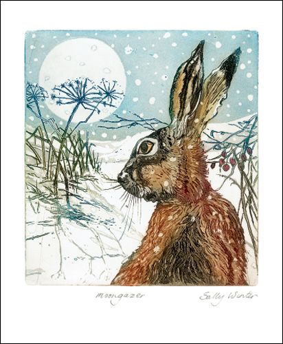 """""""Moongazer"""" by Sally Winter (etching)"""