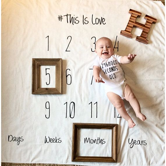Baby Monthly milestones anniversary blanket black and by DotBoxed