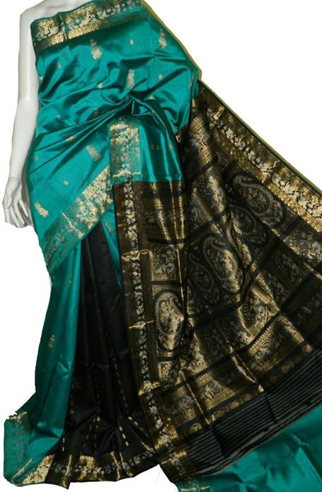 Blue Handloom Swarnachari Pure Silk Saree