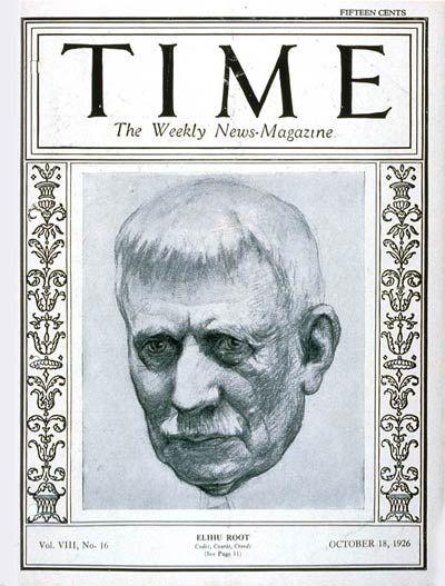 TIME Cover - Vol. 8 Nº 16: Elihu Root | Oct. 18, 1926                http://en.wikipedia.org/wiki/Elihu_Root