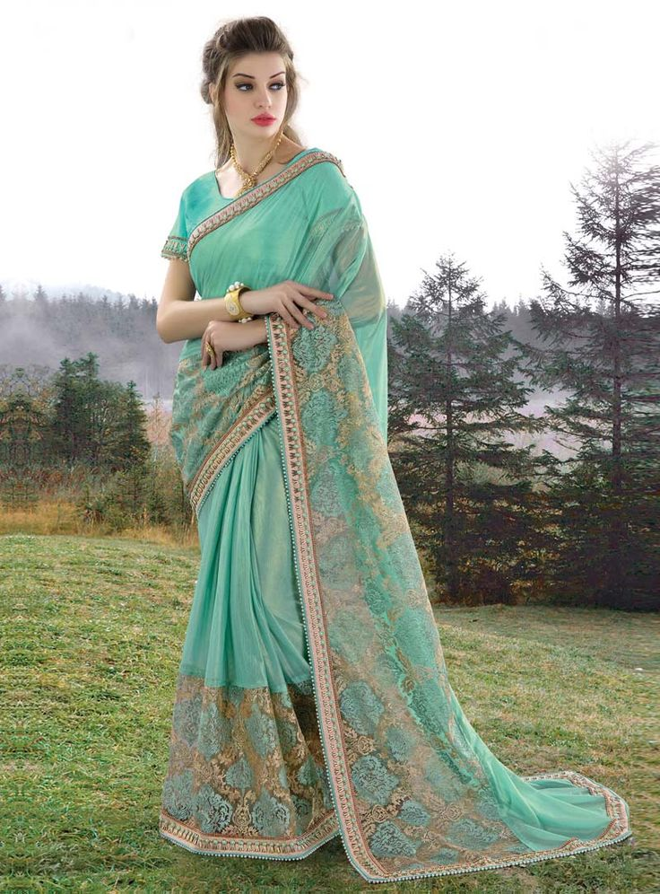 Turquoise Georgette Party Wear Saree 85023