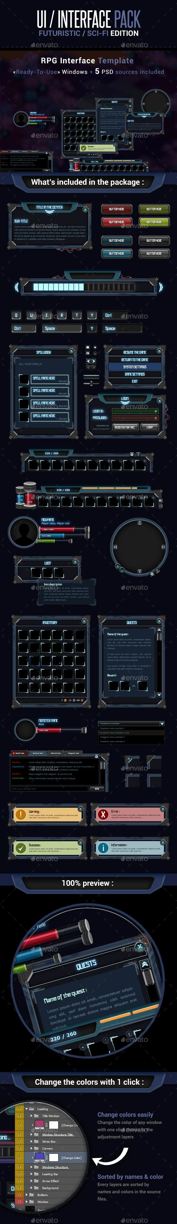 Game UI Interface Pack - Futuristic Sci-Fi Edition - User Interfaces Game Assets