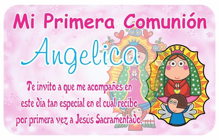 10 Invitación Credencial Primera Comunión Virgencita Plis ...