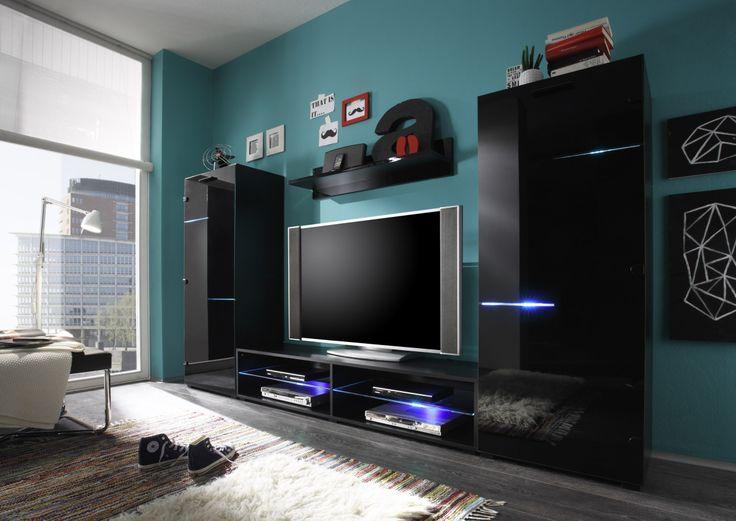Popular Wohnwand Schwarz Glas Mit Beleuchtung Woody modern Jetzt bestellen unter https moebel ladendirekt de wohnzimmer schraenke wohnwaende uid ud