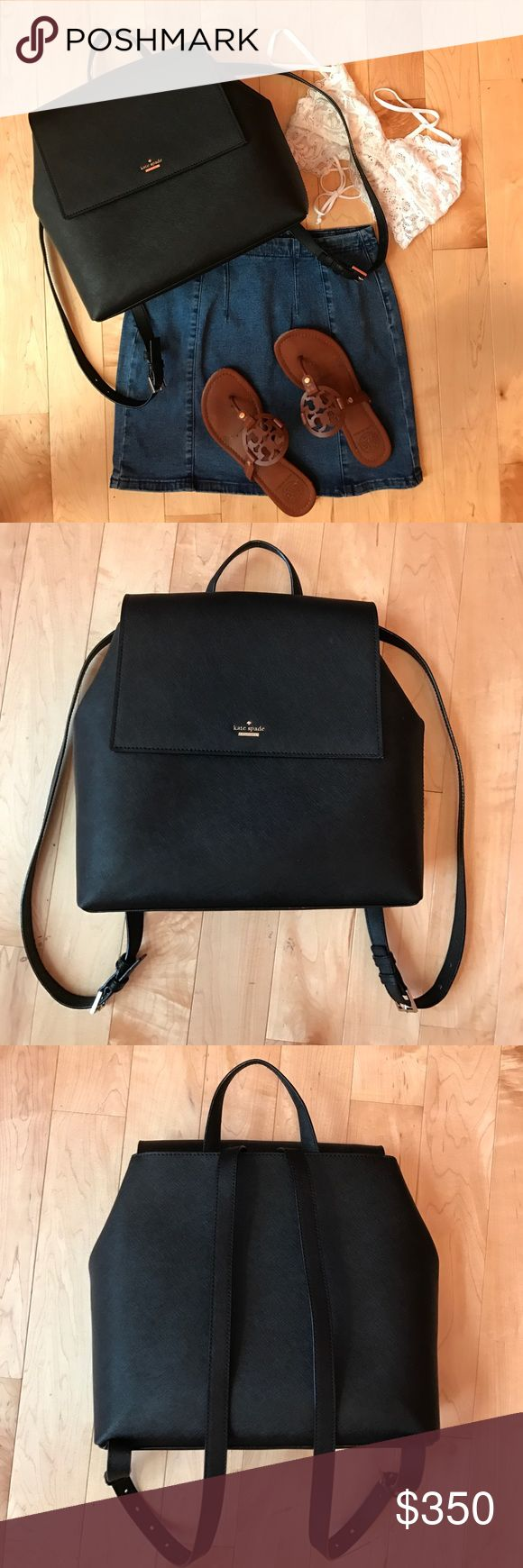 HP  Kate Spade Backpack Kate Spade backpack in beautiful condition on the exterior and interior.  Black with gold hardware and striped lining kate spade Bags Backpacks