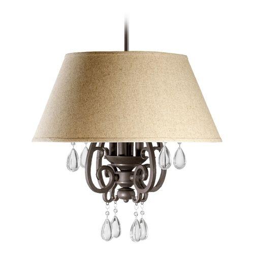 Quorum Lighting Anders Oiled Bronze Pendant Light with Empire Shade | 6813-4-86 | Destination Lighting
