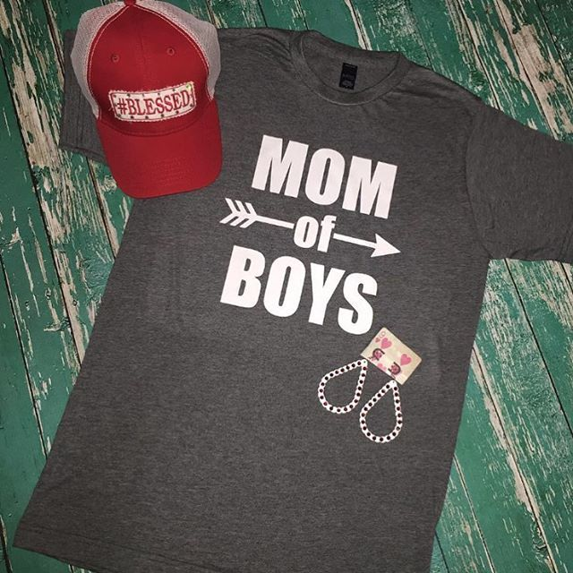 NEW!!! Mom Of Boys tee- $22.95!!! #blessed patch hat- $35.00  Silver & Red scalloped earrings- $19.95 S.M.L.XL.XXL.  Can be bought in store or online <FREE SHIPPING> ❤❤❤😍💄🎉#boymom #boys #mom #mommy #gussiedup #gussieduptx #gussieduplifestyle #gussiedupwarehouse #gussiedupboutique #momofboys #pearlandboutique #pearland #friendswood #shoplocal