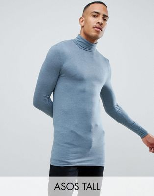 e29cf3a782c ASOS DESIGN Tall muscle fit long sleeve roll neck t-shirt with stretch in  blue