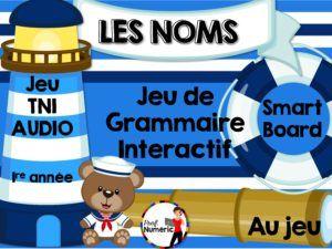 Jeu TNI sur les noms. Grammaire interactive sur TBI pour les élèves du 1er cycle du primaire.