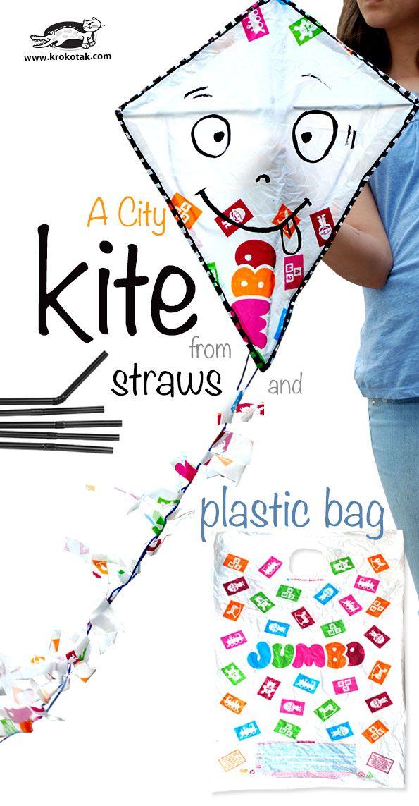 DIY City Kite - made out of plastic bags, yarn, straws, scotch tape -  krokotak.com
