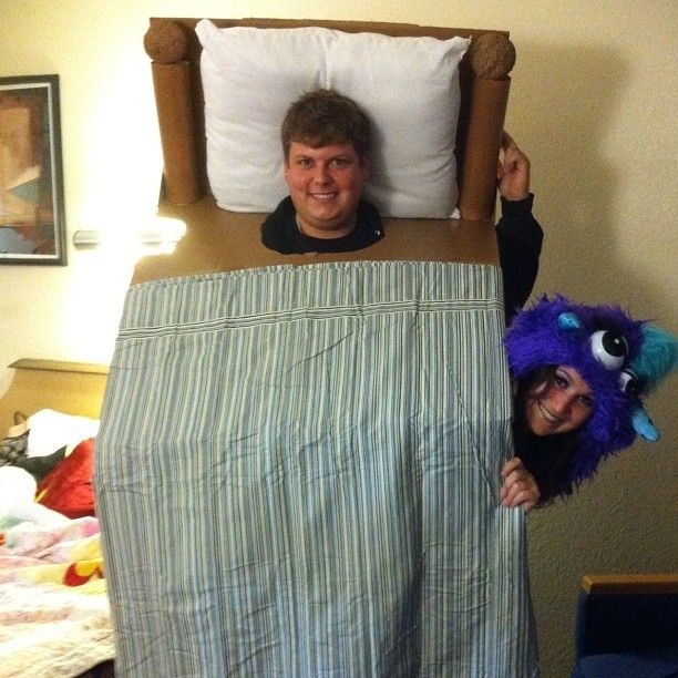 Bed and the Monster Who Resides Under It | 30 Unconventional Two-Person Halloween Costumes