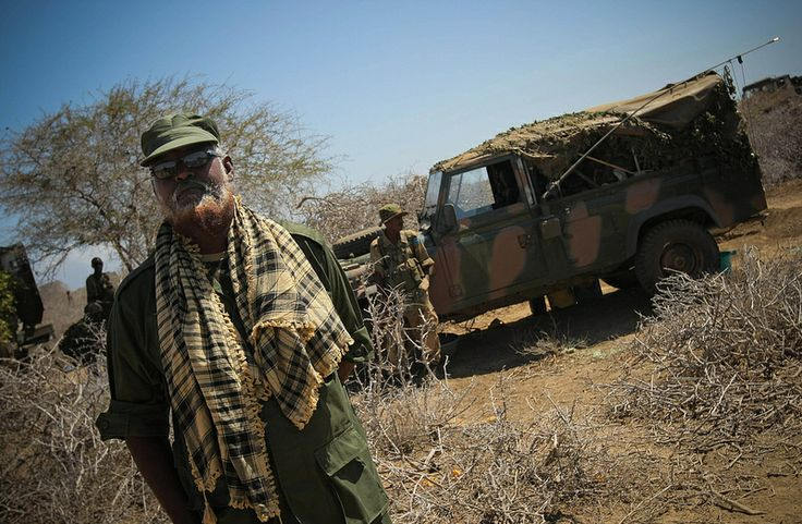 Sheik Ahmed Madobe, Ras Kimboni Brigade Commander, which is allied to the Somali National Army (SNA) stands in Saa'moja, an area approx. 7km outside the Somali port city of Kismayo, 01 October 2012, a day before joint allied forces of AMISOM, the Somali National Army (SNA) and the pro-government Ras Kimboni Brigade advanced on and took over the last remaining urban bastion of the Al-Qaeda-affiliated extremist group Al Shabaab. AU-UN IST PHOTO / STUART PRICE.