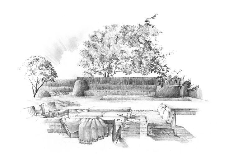 Main Lawn East Hampton Pencil Drawing By Alan Hughes