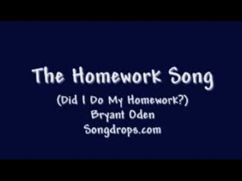 The Homework Song: A funny song for kids and teens by Bryant Oden, fun for schools and classrooms. Free download of instrumental karaoke version: http://www....