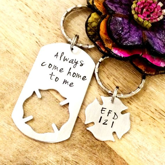 Gift for Firefighter, Fireman Gift, His and Hers, Fireman Gift, Hand Stamped Keychain, Couples Keychain Set, His One, Her Only, Firefighter